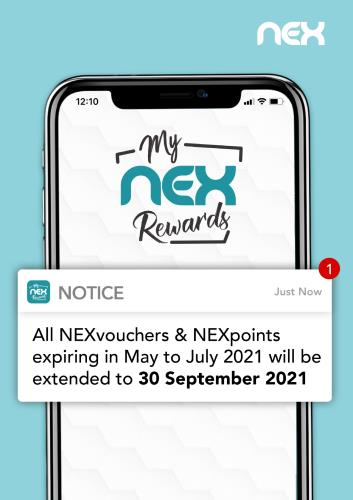 A4 poster extension of NEXvouchers and NEXpoints to Sep 2021