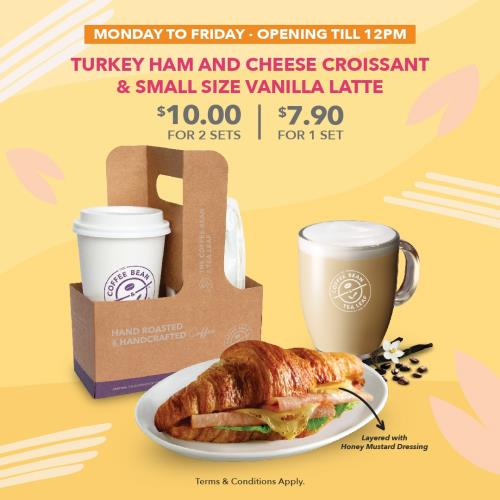 Coffee Bean Breakfast Set-Vanilla Latte  Turkey Ham Croissant
