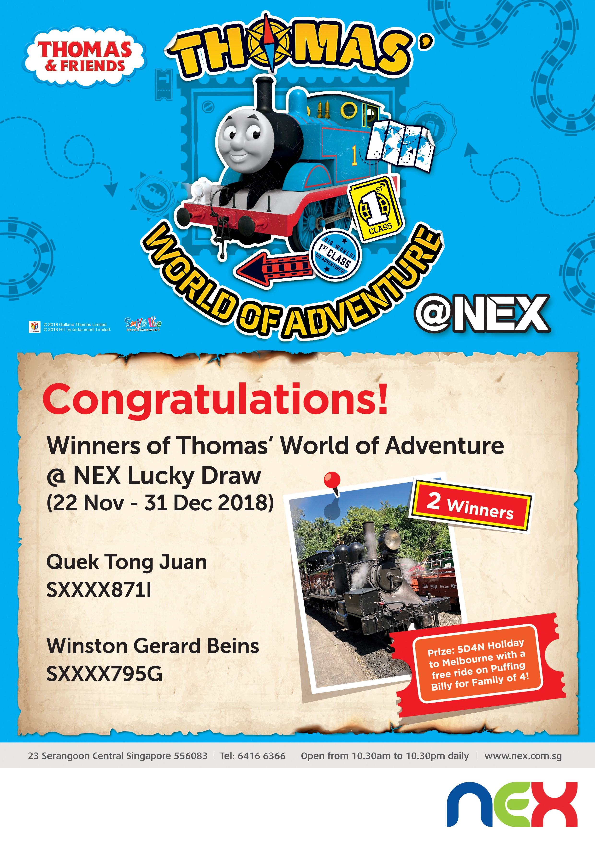 Thomas' World of Adventure @ NEX 2018 Lucky Draw Winner Result_FA-Hires